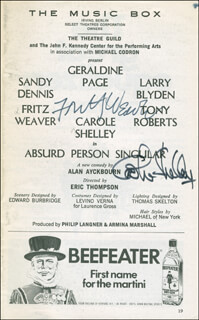 Autographs: ABSURD PERSON SINGULAR BROADWAY CAST - SHOW BILL SIGNED CO-SIGNED BY: FRITZ WEAVER, CAROLE SHELLEY