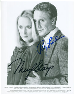 STILL OF THE NIGHT MOVIE CAST - PRINTED PHOTOGRAPH SIGNED IN INK CO-SIGNED BY: ROY SCHEIDER, MERYL STREEP