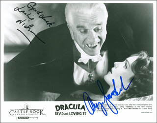 DRACULA DEAD AND LOVING IT MOVIE CAST - AUTOGRAPHED SIGNED PHOTOGRAPH CO-SIGNED BY: LESLIE NIELSEN, AMY YASBECK