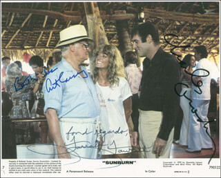 SUNBURN MOVIE CAST - AUTOGRAPHED SIGNED PHOTOGRAPH CO-SIGNED BY: CHARLES GRODIN, ART CARNEY, FARRAH FAWCETT