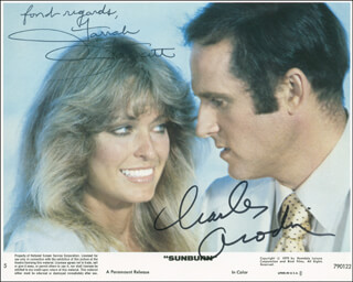SUNBURN MOVIE CAST - AUTOGRAPHED SIGNED PHOTOGRAPH CO-SIGNED BY: CHARLES GRODIN, FARRAH FAWCETT