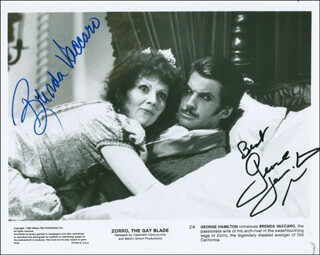 ZORRO: THE GAY BLADE MOVIE CAST - AUTOGRAPHED SIGNED PHOTOGRAPH CO-SIGNED BY: GEORGE HAMILTON, BRENDA VACCARO