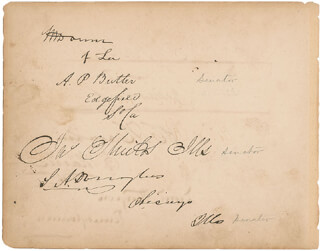 VICE PRESIDENT HANNIBAL HAMLIN - AUTOGRAPH CO-SIGNED BY: BRIGADIER GENERAL JAMES SHIELDS, ANDREW PERKINS BUTLER, SOLOMON WEATHERSBEE DOWNS, PIERRE SOULE, STEPHEN A. LITTLE GIANT DOUGLAS, DANIEL STURGEON, JAMES WHITCOMB