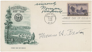 NORMAN ROCKWELL - FIRST DAY COVER WITH AUTOGRAPH SENTIMENT SIGNED CO-SIGNED BY: THOMAS HART BENTON