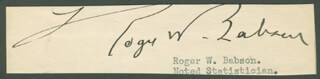 ROGER BABSON - TYPED LETTER FRAGMENT SIGNED