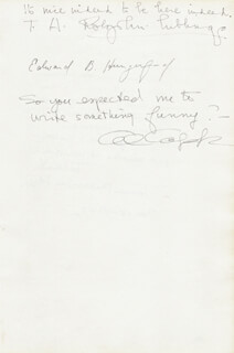 AL CAPP - AUTOGRAPH NOTE SIGNED 11/15/1947 CO-SIGNED BY: FRANCES PARKINSON KEYES, EDWARD B. HUNGERFORD, T.H. ROLJOHN-HIBBINGS