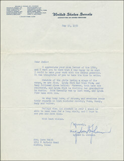 PRESIDENT LYNDON B. JOHNSON - TYPED LETTER SIGNED 05/19/1950