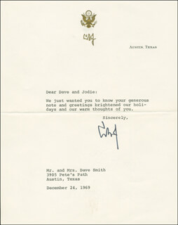 PRESIDENT LYNDON B. JOHNSON - TYPED LETTER SIGNED 12/24/1969