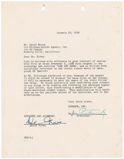 DAVID NIVEN - DOCUMENT SIGNED 01/28/1959 CO-SIGNED BY: JOE PASTERNAK