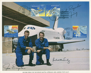 SPACE SHUTTLE ENTERPRISE CREW - AUTOGRAPHED INSCRIBED PHOTOGRAPH CIRCA 1981 CO-SIGNED BY: MAJOR GENERAL JOE ENGLE, VICE ADMIRAL RICHARD H. TRULY