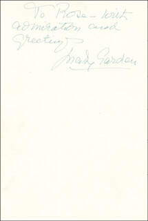 MARY GARDEN - AUTOGRAPH NOTE SIGNED