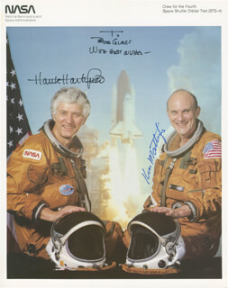 SPACE SHUTTLE COLUMBIA - STS - 4 CREW - AUTOGRAPHED INSCRIBED PHOTOGRAPH CO-SIGNED BY: COLONEL HENRY HANK HARTSFIELD JR., REAR ADMIRAL KEN MATTINGLY II
