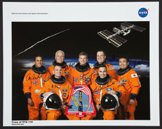 SPACE SHUTTLE DISCOVERY - STS - 119 CREW - AUTOGRAPHED SIGNED PHOTOGRAPH CO-SIGNED BY: JOHN L PHILLIPS, JOE ACABA, DOMINIC ANTHONY TONY ANTONELLI, COLONEL LEE ARCHAMBAULT, STEVEN SWANSON, KOICHI WAKATA, RICHARD ARNOLD II