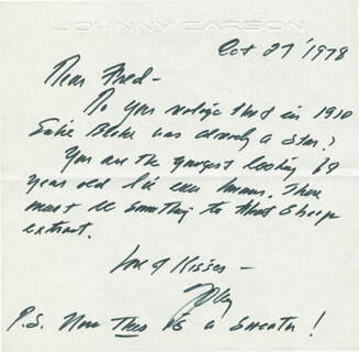 Autographs: JOHNNY CARSON WRITES PRODUCER/DIRECTOR FRED DE CORDOVA ABOUT EARLY JAZZ/BROADWAY STAR EUBIE BLAKE