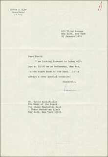GENERAL LUCIUS D. CLAY - TYPED LETTER SIGNED 01/31/1974