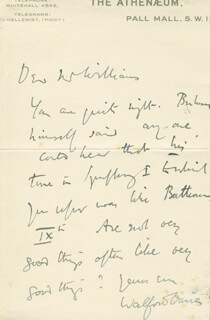 Autographs: SIR WALFORD DAVIES - AUTOGRAPH LETTER SIGNED