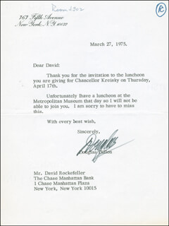 C. DOUGLAS DILLON - TYPED LETTER SIGNED