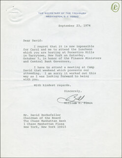 WILLIAM E. SIMON - TYPED LETTER SIGNED 09/23/1974
