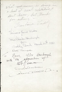 WALTER HAMPDEN - AUTOGRAPH CIRCA 1942 CO-SIGNED BY: BARBARA LUDDY, CAROL GOODNER, BOBBY CLARK
