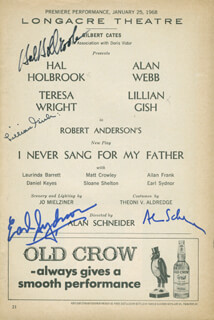 I NEVER SANG FOR MY FATHER PLAY CAST - SHOW BILL SIGNED CO-SIGNED BY: HAL HOLBROOK, LILLIAN GISH, ALAN SCHNEIDER, EARL SYDNOR