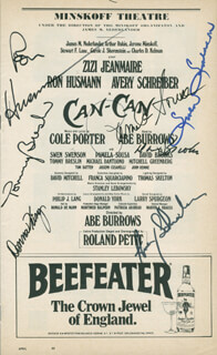 CAN-CAN PLAY CAST - SHOW BILL SIGNED CO-SIGNED BY: TOMMY BRESLIN, AVERY SCHREIBER, RON HUSMANN, SWEN SWENSON, PAMELA SOUSA, DAVID BROOKS, DONNA KING
