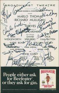 Autographs: THIEVES BROADWAY CAST - SHOW BILL SIGNED CO-SIGNED BY: DAVID SPIELBERG, CHARLES GRODIN, MARLO THOMAS, HERB GARDNER, SUDIE BOND, DICK VAN PATTEN, PROFESSOR IRWIN COREY, ANN WEDGEWORTH, WILLIAM HICKEY, JULES FISHER, HAYWOOD NELSON