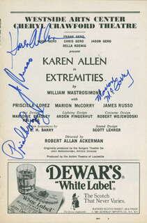 EXTREMITIES PLAY CAST - SHOW BILL SIGNED CO-SIGNED BY: KAREN ALLEN, MARION MCCORRY, PRISCILLA LOPEZ, JAMES RUSSO