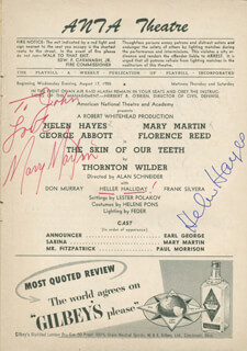 THE SKIN OF OUR TEETH PLAY CAST - INSCRIBED SHOW BILL SIGNED CO-SIGNED BY: MARY MARTIN, HELEN HAYES