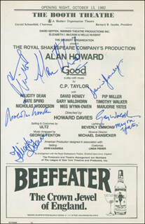 GOOD PLAY CAST - SHOW BILL SIGNED CO-SIGNED BY: ALAN HOWARD, NICHOLAS WOODESON, MARJORIE YATES, GARY WALDHORN, FELICITY DEAN, DAVID HOWEY