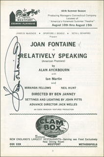 Autographs: JOAN FONTAINE - SHOW BILL SIGNED