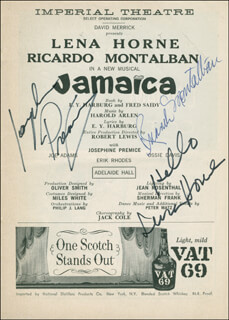 JAMAICA BROADWAY CAST - SHOW BILL SIGNED CO-SIGNED BY: LENA HORNE, RICARDO MONTALBAN, JOSEPHINE PREMICE