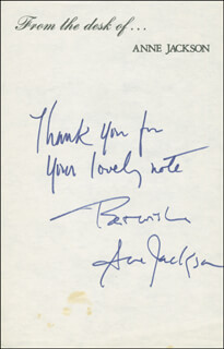 ANNE JACKSON - AUTOGRAPH SENTIMENT SIGNED