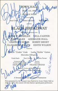 BLACK BROADWAY PLAY CAST - SHOW BILL SIGNED CO-SIGNED BY: BOBBY SHORT, ADELAIDE HALL, NELL CARTER, GREGORY HINES, ELISABETH WELCH, CHARLES HONI COLES, EDITH WILSON