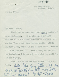 DAME SYBIL THORNDIKE - TYPED LETTER SIGNED 05/29/1954