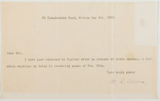 Autographs: WILLIAM L. ALDEN - TYPED NOTE SIGNED 05/06/1902