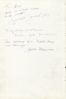 GEORGE JESSEL - AUTOGRAPH NOTE SIGNED 1943 CO-SIGNED BY: RACKHAM HOLT, JERRE MANGIONE, WALTER V. MCKEE
