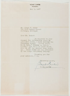 Autographs: BOAKE (HARRY THOMAS HENRY) CARTER - TYPED LETTER SIGNED 05/05/1937