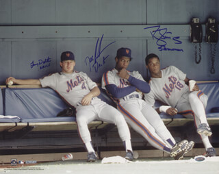 THE NEW YORK METS - AUTOGRAPHED SIGNED PHOTOGRAPH CO-SIGNED BY: DARRYL STRAWBERRY, LENNY DYKSTRA, DWIGHT DOC GOODEN