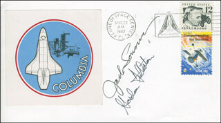 SPACE SHUTTLE COLUMBIA - STS - 3 CREW - COMMEMORATIVE ENVELOPE SIGNED CO-SIGNED BY: COLONEL JACK LOUSMA, COLONEL C. GORDON FULLERTON
