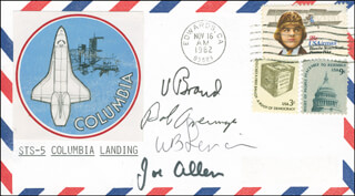 SPACE SHUTTLE COLUMBIA - STS - 5 CREW - COMMEMORATIVE ENVELOPE SIGNED CO-SIGNED BY: WILLIAM B. LENOIR, COLONEL ROBERT OVERMYER, JOSEPH P. ALLEN, VANCE BRAND