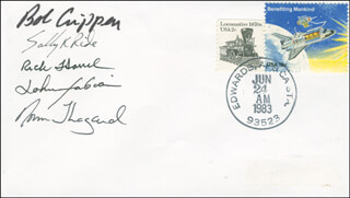 SPACE SHUTTLE CHALLENGER - STS - 7 CREW - COMMEMORATIVE ENVELOPE SIGNED CO-SIGNED BY: CAPTAIN NORMAN E. THAGARD, SALLY K. RIDE, CAPTAIN ROBERT BOB CRIPPEN, COLONEL JOHN M. FABIAN, CAPTAIN FREDERICK RICK HAUCK