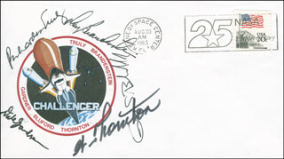 SPACE SHUTTLE CHALLENGER - STS - 8 CREW - COMMEMORATIVE ENVELOPE SIGNED CO-SIGNED BY: CAPTAIN DANIEL C. BRANDENSTEIN, WILLIAM E. THORNTON, VICE ADMIRAL RICHARD H. TRULY, COLONEL GUION S. GUY BLUFORD JR., COMMANDER DALE A. GARDNER