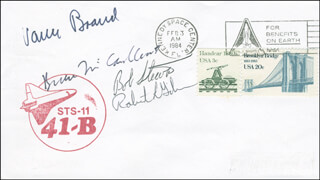 SPACE SHUTTLE CHALLENGER - STS - 41B CREW - COMMEMORATIVE ENVELOPE SIGNED CO-SIGNED BY: CAPTAIN ROBERT L. HOOT GIBSON, BRIGADIER GENERAL ROBERT L. BOB STEWART, CAPTAIN BRUCE MCCANDLESS II, VANCE BRAND