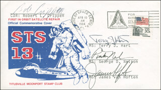 SPACE SHUTTLE CHALLENGER - STS - 41C CREW - COMMEMORATIVE ENVELOPE SIGNED CO-SIGNED BY: CAPTAIN ROBERT BOB CRIPPEN, TERRY J. HART, GEORGE D. NELSON, LT. COLONEL DICK (FRANCIS R.) SCOBEE, JAMES D. A. VAN HOFTEN