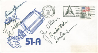 SPACE SHUTTLE DISCOVERY - STS - 51A CREW - COMMEMORATIVE ENVELOPE SIGNED CO-SIGNED BY: CAPTAIN DAVID M. WALKER, ANNA LEE FISHER, JOSEPH P. ALLEN, CAPTAIN FREDERICK RICK HAUCK, COMMANDER DALE A. GARDNER