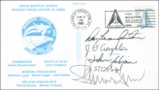 SPACE SHUTTLE DISCOVERY - STS - 51G CREW - COMMEMORATIVE ENVELOPE SIGNED CO-SIGNED BY: CAPTAIN JOHN O. CREIGHTON, CAPTAIN DANIEL C. BRANDENSTEIN, COLONEL JOHN M. FABIAN, COLONEL STEVE NAGEL, SHANNON W. LUCID
