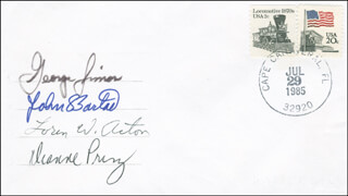 SPACE SHUTTLE CHALLENGER - STS - 51F CREW - COMMEMORATIVE ENVELOPE SIGNED CO-SIGNED BY: JOHN-DAVID F. BARTOE, DIANNE K. PRINZ, LOREN ACTON, GEORGE W. SIMON