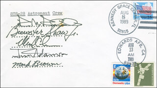 SPACE SHUTTLE COLUMBIA - STS - 28 CREW - COMMEMORATIVE ENVELOPE SIGNED CO-SIGNED BY: COLONEL BREWSTER H. SHAW, CAPTAIN DAVID C. LEESTMA, COLONEL JAMES C. JIM ADAMSON, COLONEL MARK N. BROWN, RICH RICHARDSON