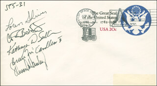 SPACE SHUTTLE DISCOVERY - STS - 31 CREW - COMMEMORATIVE ENVELOPE SIGNED CO-SIGNED BY: STEVEN A. HAWLEY, COLONEL LOREN SHRIVER, MAJOR GENERAL CHARLES F. BOLDEN JR., CAPTAIN BRUCE MCCANDLESS II, CAPTAIN KATHRYN D. SULLIVAN