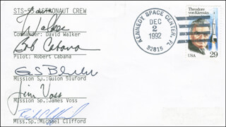 SPACE SHUTTLE DISCOVERY - STS - 53 CREW - COMMEMORATIVE ENVELOPE SIGNED CO-SIGNED BY: CAPTAIN DAVID M. WALKER, COLONEL GUION S. GUY BLUFORD JR., LT. COLONEL MICHAEL RICH CLIFFORD, COLONEL ROBERT CABANA, COLONEL JAMES S. VOSS